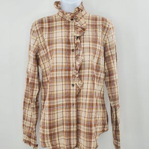 Ralph Lauren Women's MEDIUM Brown Plaid Shirt